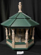 Large Spindle Poly Bird Feeder Amish Handcrafted Handmade Clay Green Roof