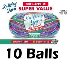 10 x Knitting Yarn 8 Ply 100g Multi Colour Rainbow Soft Brand New
