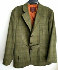 Mulberry Tweed Chaqueta Blazer Para Hombre Talla 44 Verde Marrón Naranja Cuadros Cinturón De Lana