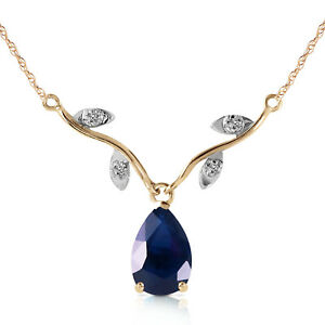 14K Solid Yellow Gold Natural Diamond Sapphire Necklace Pendant 1.52 CT Pear Cut