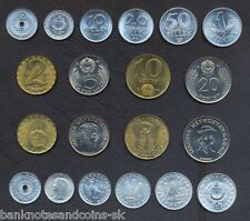 HUNGARY COMPLETE COIN SET 2+5+10+20+50 Filler +1+2+5+10+20 Forint UNC LOT of 10