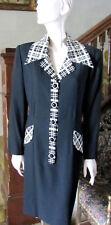 RICKIE FREEMAN Vintage Black & Plaid Detail Business Dress SzM 1990s
