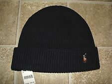 Polo Ralph Lauren Blue Classic Cuffed Knit One US Size Wool Beanie 296