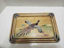Set of (3) Asian Wood & Chrome Nesting Trays Hand Painted Pheasants Made in Japa