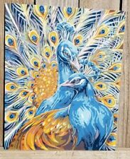 Paint by Number Majestic Peacocks Painting Complete 16 X 20 Peacock