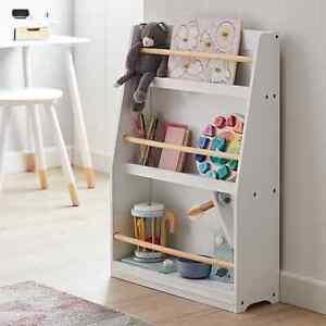 Kids White Wooden Bookcase Rack Storage Tidy Playroom Children Book Shelf Toys