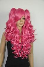 NEW Rose Red Lolita Girl Women Long Wavy Curly CosplayHair Wigs 2 Ponytail