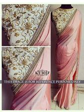 Bollywood  Designer Party Wear Pink  Color Lycra Fabric Designer Border Saree