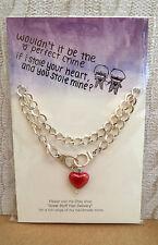 chunky silver pl chain BRACELET * LOVE HEART HANDCUFFS * Xmas Birthday Valentine