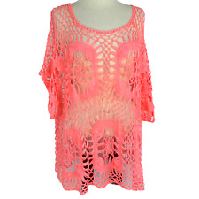 Maurices Womens 4X Crochet Top Relaxed Acrylic Open Weave Granny Square Orange