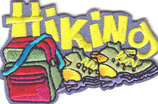 """HIKING"" Iron On Patch Scouts Girl Boy Cub Sports Hiker Hike"