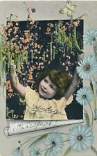 c1910 Norway European Pretty Little Girl with Flowers Art Deco Tinted Postcard