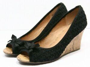 Report Ashlyn Womens Sandals Size 8 Cork Platform Wedge Heels Black Lace Crochet