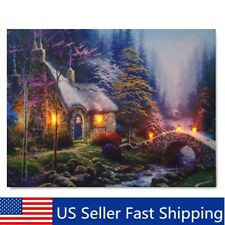 LED Forest House Light Up Lighted Canvas Painting Picture Wall Art Home Decor