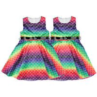 Girls Kids Colorful Mermaid Sleeveless Belt Summer Casual Party Dress 4-11 Years