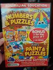 Fun With Numbers & Puzzles / Kid's Paint & Puzzles - PC GAME - FREE POST