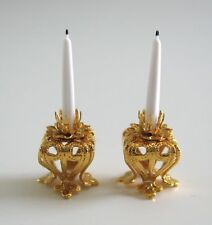 dollhouse doll house miniature Fancy Brass Candle Holder Candle Set