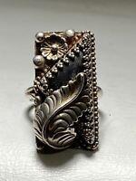 Long ring southwest leaves women sterling silver