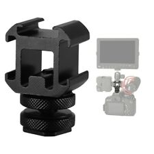 Durable Triple Hot Shoe Mount Adapter Microphone LED Video Light for DSLR Camera