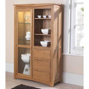 Crescent solid oak living room furniture glazed display cabinet cupboard