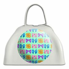 Cute Girly Ribbon Bows Set White Metal Cowbell Cow Bell Instrument