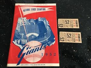 MLB New York Giants Program and 2 ticket stubs August 3, 1952 (Polo Grounds)