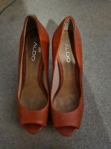 Aldo Red Leather Peep Toe Platform Heels Size 5 38