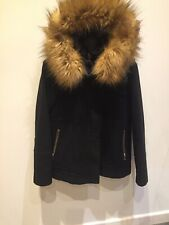 Ladies Black Zara Jacket Zip Pockets Removable Fur Trim To Hood Coat Size Small