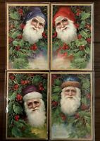 Lot of 4 ~Santa Claus Postcards~Series 1480-Heads In Holly~Gold Accents-s769