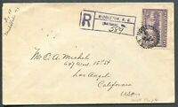 """CANADA """"PICTORIAL"""" FOREIGN DESTINATION REGISTERED COVER TO LOS ANGELES, CALIF."""