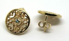 NEW 9CT YELLOW GOLD TOPAZ HEART FILIGREE STUD EARRINGS *FREE EXPRESS POST IN OZ
