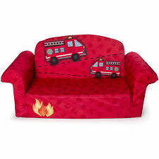 Marshmallow Furniture Children's 2 in 1 Flip Open Foam Kids Sofa, Red Fire Truck