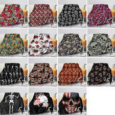 Skull Print Blanket Punk Quilt Plush Throws Winter Rugs Air-conditioning Blanket