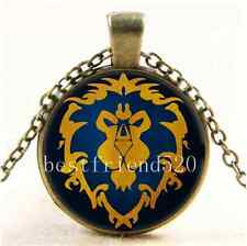 World Of Warcraft Symbols Cabochon Glass Bronze Chain Pendant  Necklace