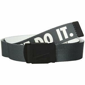 NIKE GOLF MEN'S JUST DO IT REVERSIBLE WEB BELT DK.GREY/WHITE FITS UP TO 42 20248