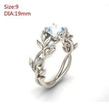 Women Aquamarine Leaf Floral Wedding Engagement Ring Party Gift Jewelry Sz6-10 9