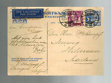 1936 Langsa Netherlands Indies Airmail Postcard Cover to Holland