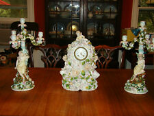 Antique Rococo Revival Figural Encrusted Porcelain Clock & Candelabra 19th c