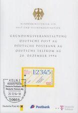 Karte Postministerium zur Gründungsveranstaltung der Post-Aktiengesellschaften