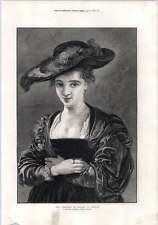 1872 Rubens Artwork Chapeau Do Paille Engraving