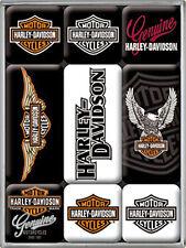 Harley Davidson Logos set of 9 mini fridge magnets (na)