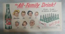 "7-Up Ad: The ""All"" Family Drink ! from 1950's  7.5 x 15 inches"