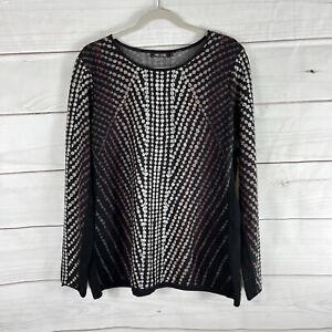 NIC + ZOE Dot Print Knit Pullover Top Size XL Long Sleeves Flattering Black Work