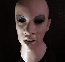 Latexmaske ANGELINA + WIMPERN Real. Frauenmaske Gummimaske Frau Zofe Trans TGirl