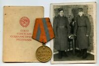 Soviet ARMY WW2 Medal For The Capture Of BUDAPEST  + DOCUMENT & PHOTO