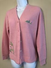 Vintage 1960s Womens Pink Haymaker Izod Lacoste Cardigan Sweater Golf Small