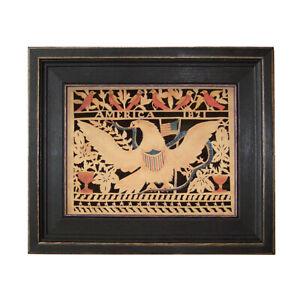 Scherensnitte Paper Cutting Antique Vintage Style Eagle Folk Art Framed Eagle