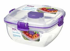Sistema Klip It Salad To Go 1.1 Litre Container 21356,Clear with Coloured Cli...