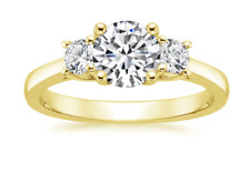 1.75 Ct Round Cut Real 14K Yellow Gold Trellis 3-Stone Past Present Future Ring
