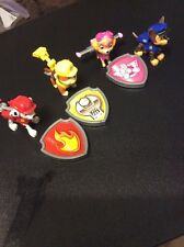 Paw Patrol Action Pups Figures Set Lot of 4 Chase Rubble Skye + 3 Badges Lift